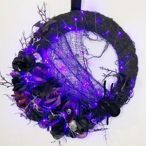 Handcrafted LED Branchy Halloween door wreath